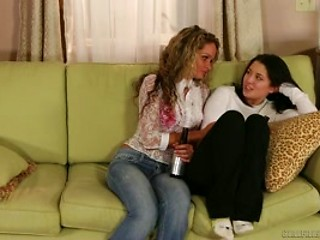 Lesbian sex on couch